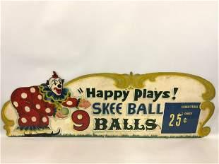 25c. Original Carnival Happy The Clown Skee Ball Sign
