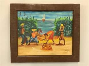 A.D. Villard Haitian Art Oil Painting