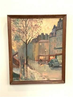 1950's Signed City Block Scene Oil Painting