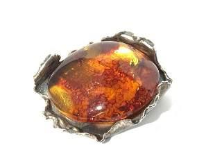 Brutalist Design Sterling Silver Amber Pin
