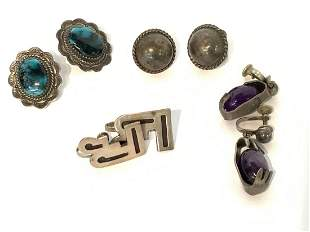 Four (4) Pairs Mexican Taxco Sterling Silver Earrings