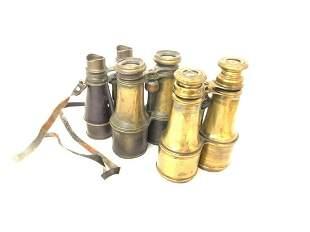 Lot of 3 British WW1 Brass Officer Binoculars