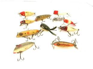 Lot of Eleven (11) Vintage Wooden Fishing Lures