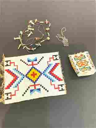 Indian Beadwork w/ Coral, Turquoise And Various Stone