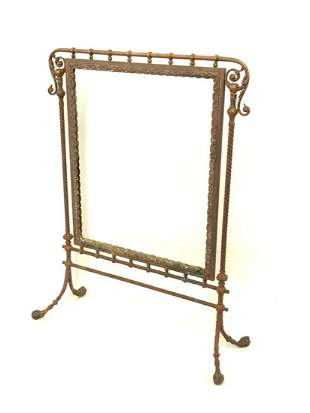 Highly Ornate Solid Bronze Fire Screen