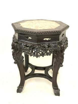 19th c. Chinese Marble Top Carved Hardwood Table
