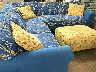 Asian Themed Blue Sofa Sectional by Crate & Barrel