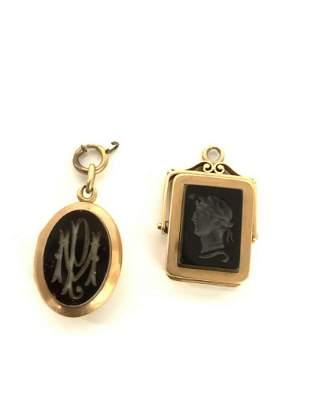 Victorian 19th c. 14K Yellow Gold Watch Fob Lockets