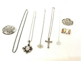 Eight (8) Piece Sterling Silver Jewelry Group