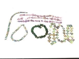Nine (8) Strands Of Beads, Adventurine, Aabalone etc.