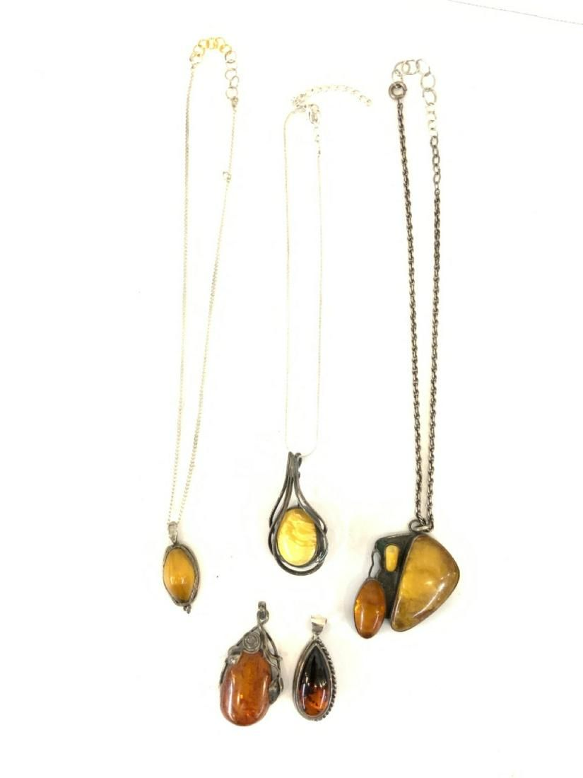 Five (5) Sterling Silver Amber Necklace/Pendants