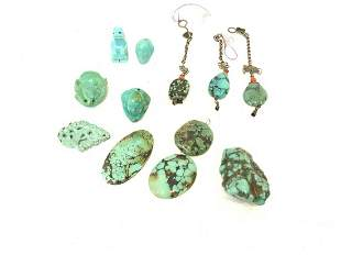 Twelve Pieces Carved Turquoise, Tibetan Etc.