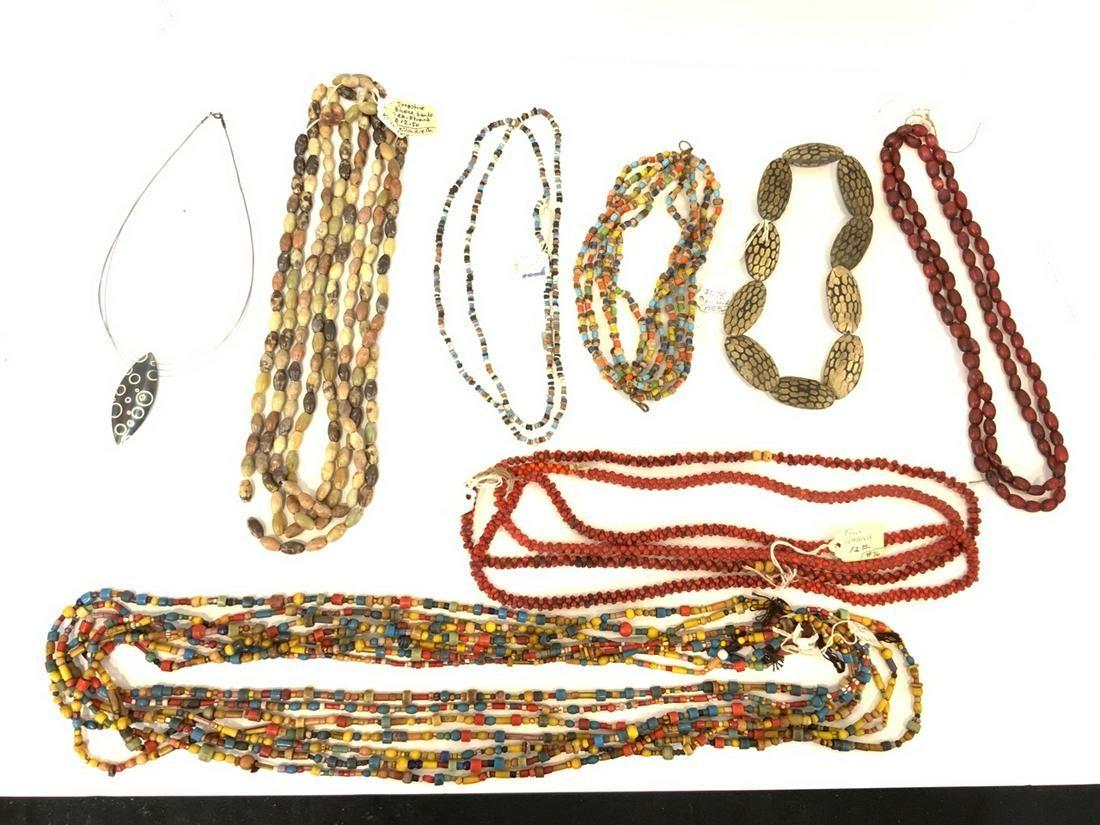 Twenty (20) Various Bead Necklaces, African, Bakelite