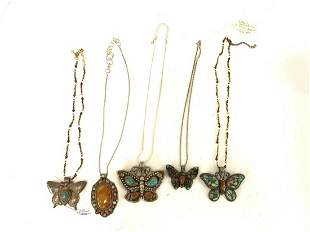 Lot of 5 Sterling Silver Tibetan Turquoise Necklaces