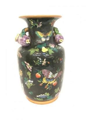 Fine Chinese Export Porcelain Enameled Vase w/ Fruits
