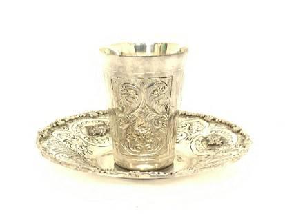 Judaica .999 Silver Plate And Beaker/ Tumbler