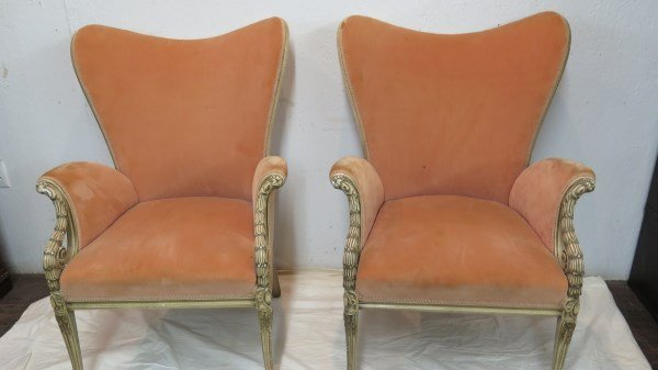 Pr. French Provincial Upholstered Arm Chairs