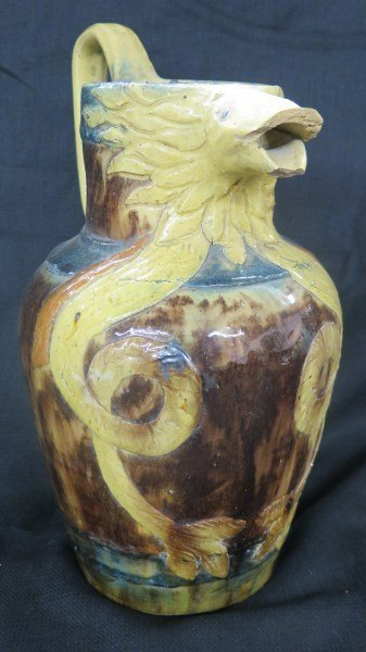 A Rare Early REDWARE SERPENT JUG