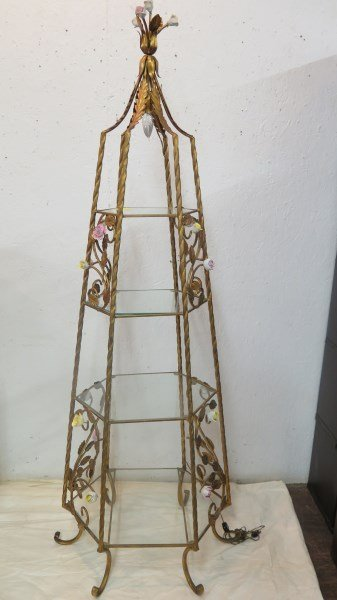 French Shabby Chic Etagere with Floral Decoration