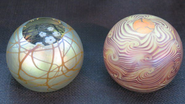 2pc. Studio Art Glass Paperweights