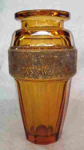 Moser Faceted Amber Glass Vase