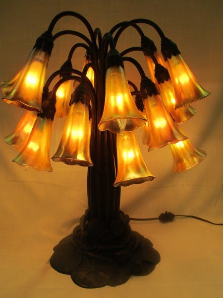 Tiffany Studios 18 Light Favrile Glass Lily Lamp