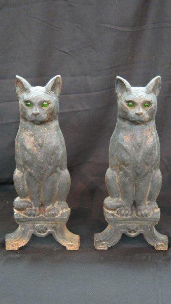 cast iron figural black cat andirons