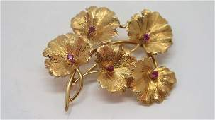 14k Gold Tiffany Brooch wRubies  Diamond