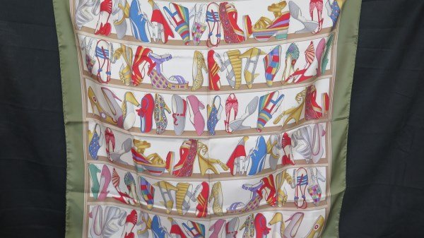 Salvatore Ferragamo Designer Shoe Print Silk Scarf