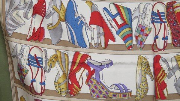 Salvatore Ferragamo Designer Shoe Print Silk Scarf - 2
