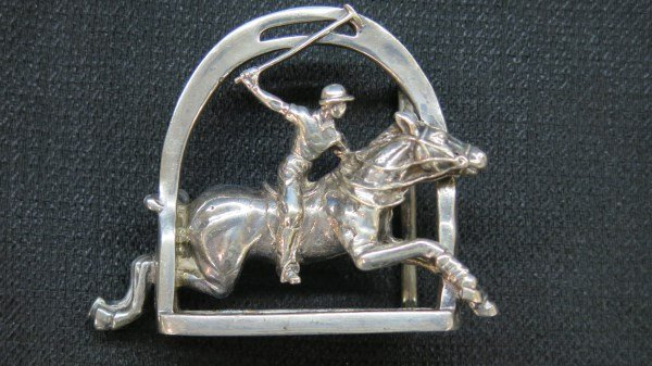 Ralph Lauren Solid Sterling Silver Polo Belt Buckle