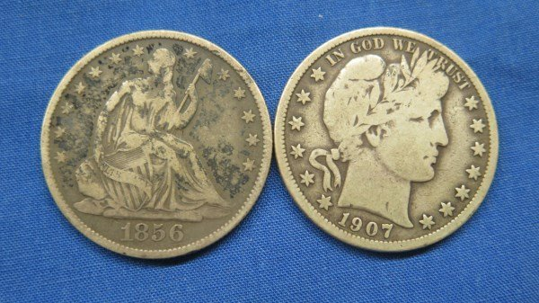 2 U.S. Silver Half Dollars.... 1856 O and 1907