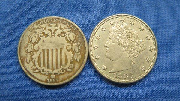2 U.S. Silver Nickel Coins. 1867, 1883