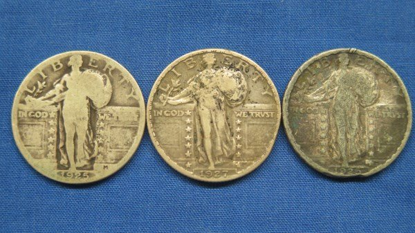 3 Standing Liberty Silver Quarters