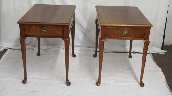 Queen Anne Style Baker Furniture Cherry End Tables