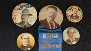 Political Buttons Teddy Roosevelt, Parker, Bryan,