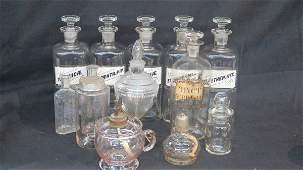13 Pharmacy Apothecary Bottles and Burners Lamps