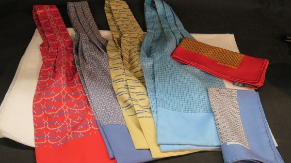 Hermes Paris Ascot Silk Ties and Squares Grouping