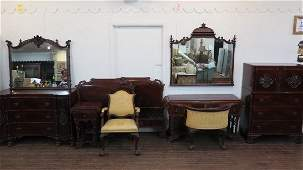 10pc. Carved Mahogany Bedroom Suite