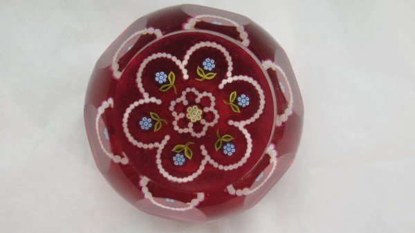 Perthshire Cranberry Faceted Glass Paperweight