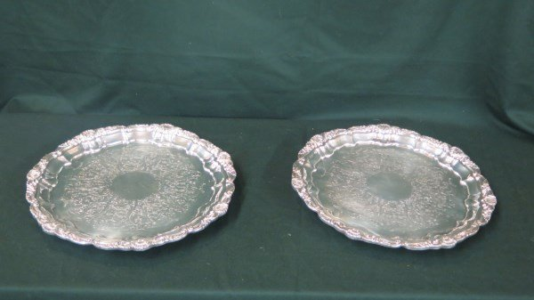 American Silverplated Circular Footed Serving Trays