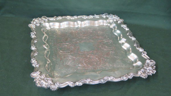 American Silver Plated Square Form Footed Tray