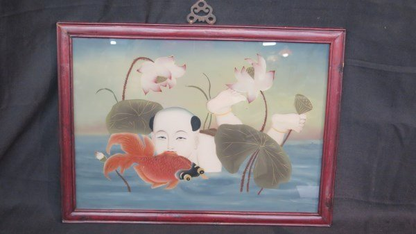 Chinese Reverse Painting on Glass in Rosewood Frame
