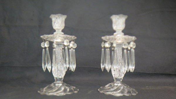Pair Crystal Lustre Candlesticks
