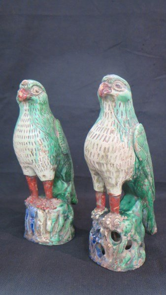 19th Century Chinese Export Polychrome Painted  Birds