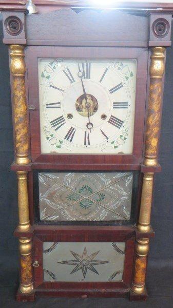 American Federal Scroll Mahogany Shelf Clock