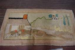 Antique American Hook Rug with Cottage