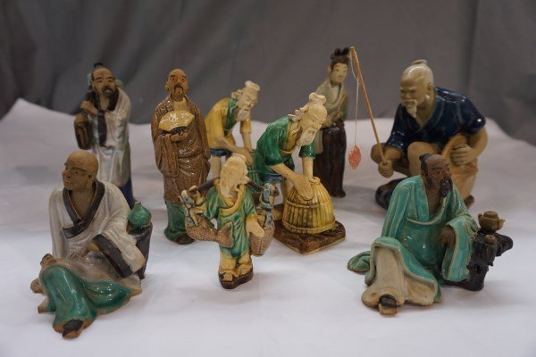9pc Chinese Mud Figures