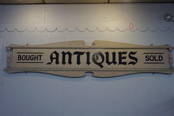 10 Ft Wooden Antiques Shop Sign