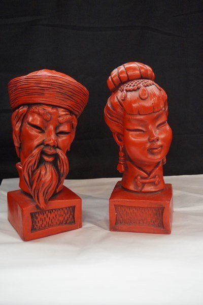 Pair 1950's Chinese Cinnabar Colored Figures